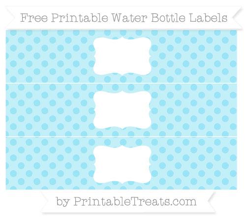 Free Pastel Aqua Blue Polka Dot Water Bottle Labels