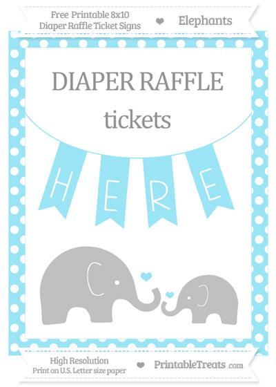 Free Pastel Aqua Blue Polka Dot Elephant 8x10 Diaper Raffle Ticket Sign