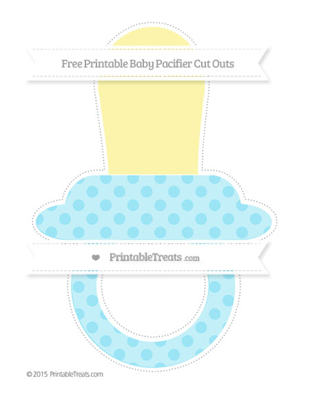 Free Pastel Aqua Blue Polka Dot Extra Large Baby Pacifier Cut Outs