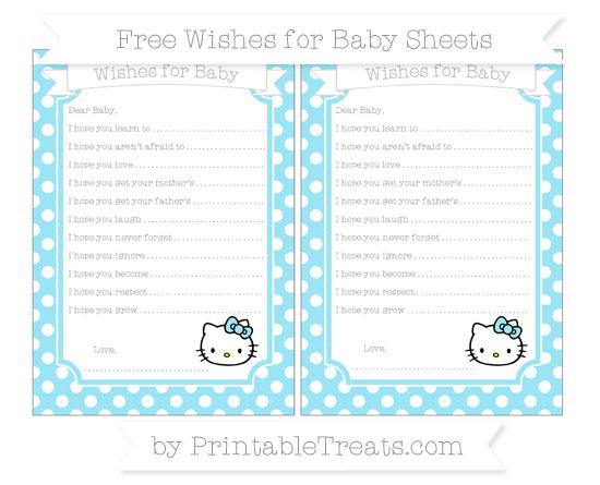Free Pastel Aqua Blue Polka Dot Hello Kitty Wishes for Baby Sheets