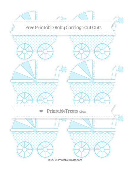 Free Pastel Aqua Blue Polka Dot Small Baby Carriage Cut Outs