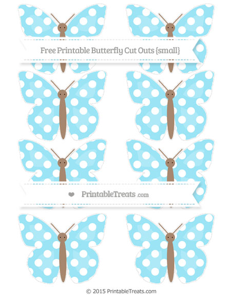 Free Pastel Aqua Blue Polka Dot Small Butterfly Cut Outs