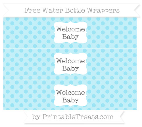 Free Pastel Aqua Blue Polka Dot Welcome Baby Water Bottle Wrappers