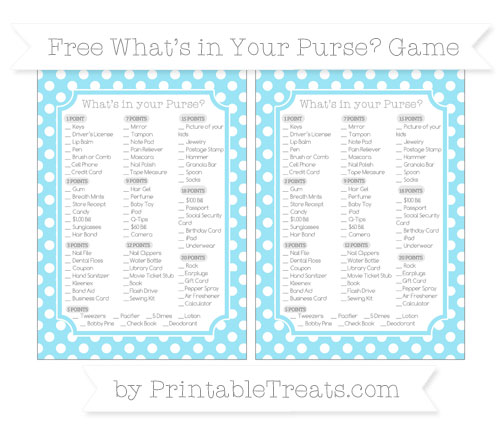 Free Pastel Aqua Blue Polka Dot What's in Your Purse Baby Shower Game