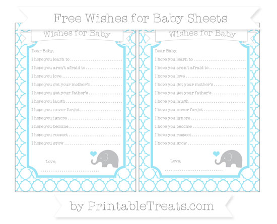 Free Pastel Aqua Blue Quatrefoil Pattern Baby Elephant Wishes for Baby Sheets