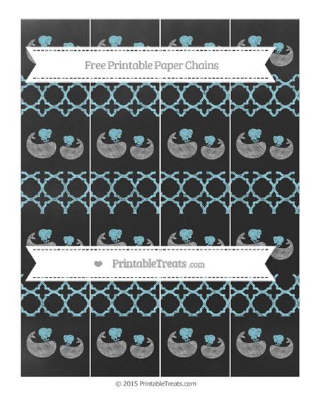 Free Pastel Aqua Blue Quatrefoil Pattern Chalk Style Baby Whale Paper Chains