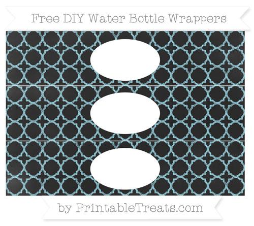 Free Pastel Aqua Blue Quatrefoil Pattern Chalk Style DIY Water Bottle Wrappers