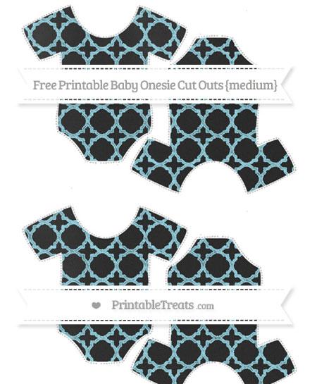 Free Pastel Aqua Blue Quatrefoil Pattern Chalk Style Medium Baby Onesie Cut Outs