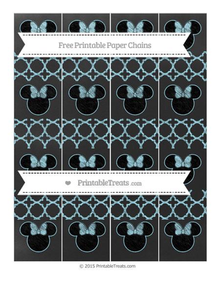 Free Pastel Aqua Blue Quatrefoil Pattern Chalk Style Minnie Mouse Paper Chains