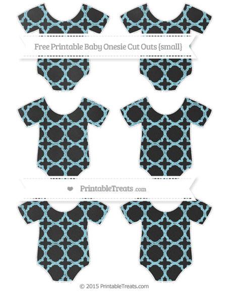 Free Pastel Aqua Blue Quatrefoil Pattern Chalk Style Small Baby Onesie Cut Outs