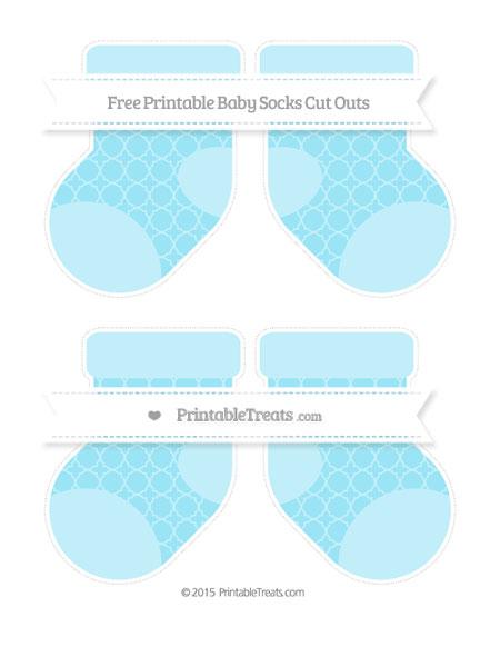 Free Pastel Aqua Blue Quatrefoil Pattern Medium Baby Socks Cut Outs