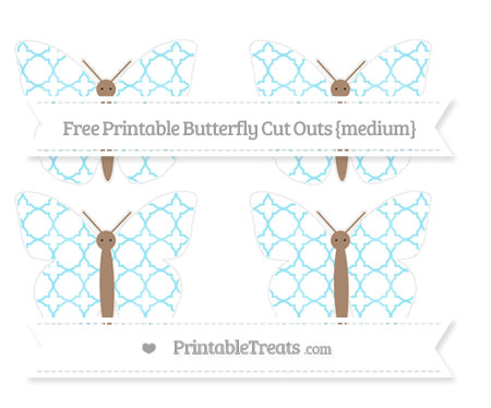 Free Pastel Aqua Blue Quatrefoil Pattern Medium Butterfly Cut Outs
