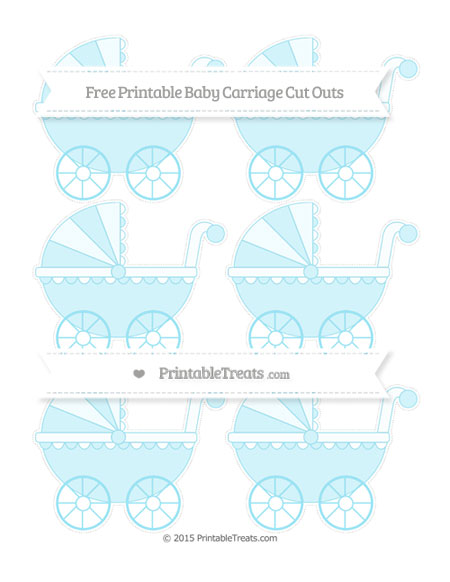 Free Pastel Aqua Blue Small Baby Carriage Cut Outs