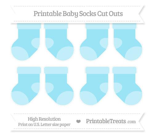 Free Pastel Aqua Blue Small Baby Socks Cut Outs