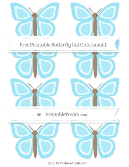 Free Pastel Aqua Blue Small Butterfly Cut Outs