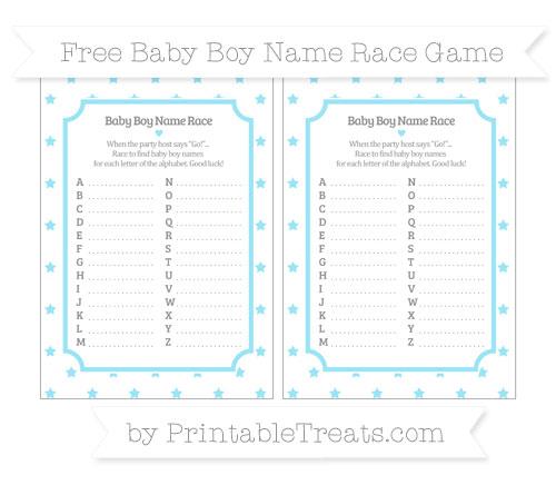 Free Pastel Aqua Blue Star Pattern Baby Boy Name Race Game