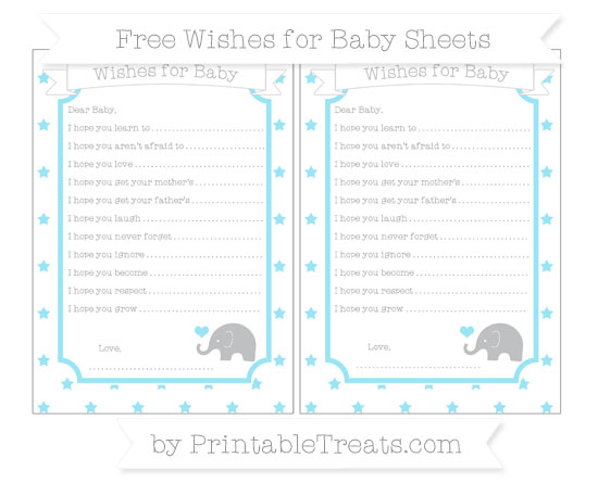 Free Pastel Aqua Blue Star Pattern Baby Elephant Wishes for Baby Sheets