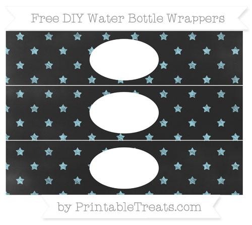 Free Pastel Aqua Blue Star Pattern Chalk Style DIY Water Bottle Wrappers