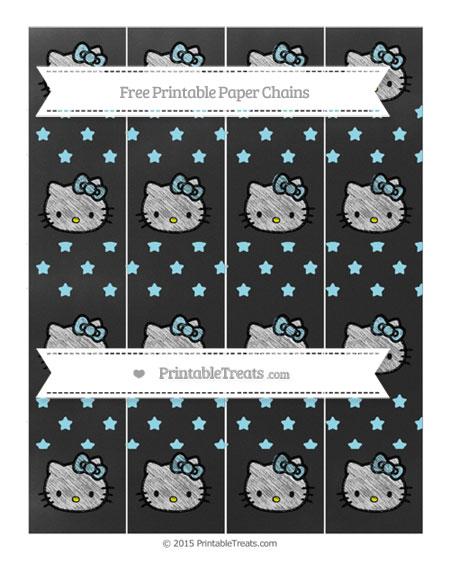 Free Pastel Aqua Blue Star Pattern Chalk Style Hello Kitty Paper Chains