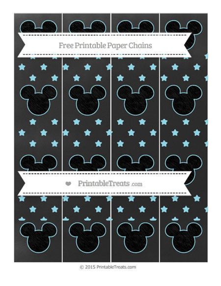 Free Pastel Aqua Blue Star Pattern Chalk Style Mickey Mouse Paper Chains