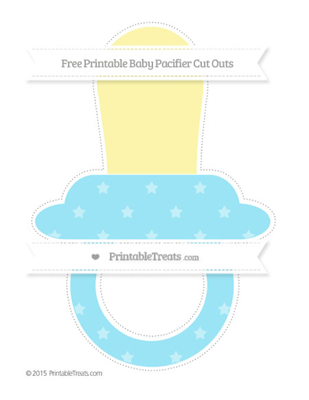 Free Pastel Aqua Blue Star Pattern Extra Large Baby Pacifier Cut Outs
