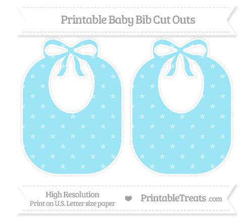 Free Pastel Aqua Blue Star Pattern Large Baby Bib Cut Outs