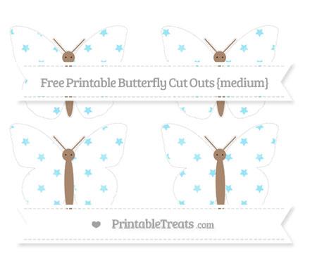 Free Pastel Aqua Blue Star Pattern Medium Butterfly Cut Outs