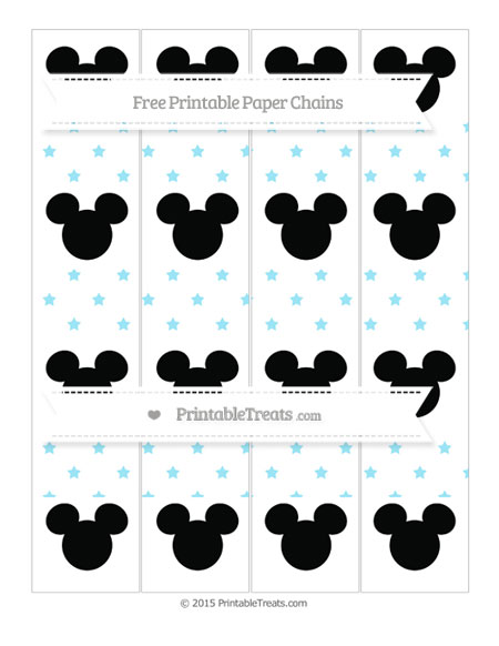 Free Pastel Aqua Blue Star Pattern Mickey Mouse Paper Chains
