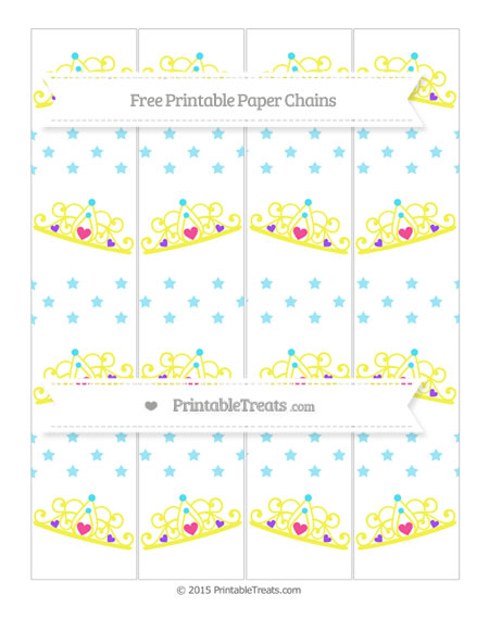 Free Pastel Aqua Blue Star Pattern Princess Tiara Paper Chains
