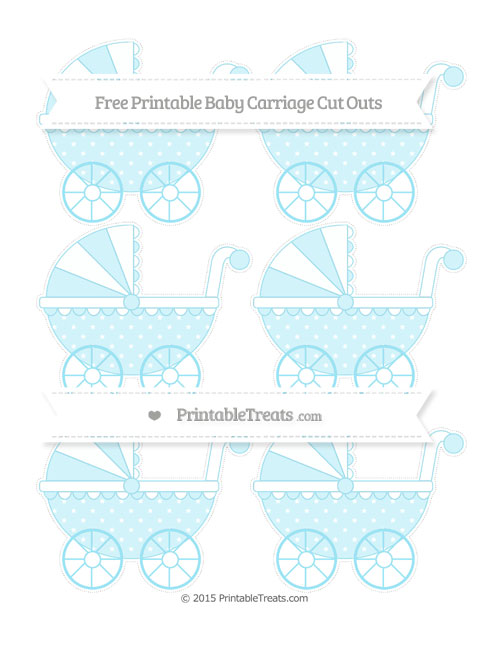 Free Pastel Aqua Blue Star Pattern Small Baby Carriage Cut Outs