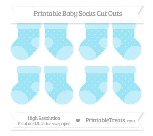 Free Pastel Aqua Blue Star Pattern Small Baby Socks Cut Outs
