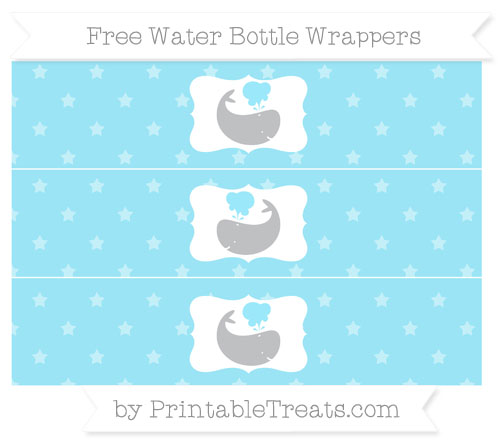 Free Pastel Aqua Blue Star Pattern Whale Water Bottle Wrappers