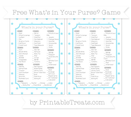 Free Pastel Aqua Blue Star Pattern What's in Your Purse Baby Shower Game