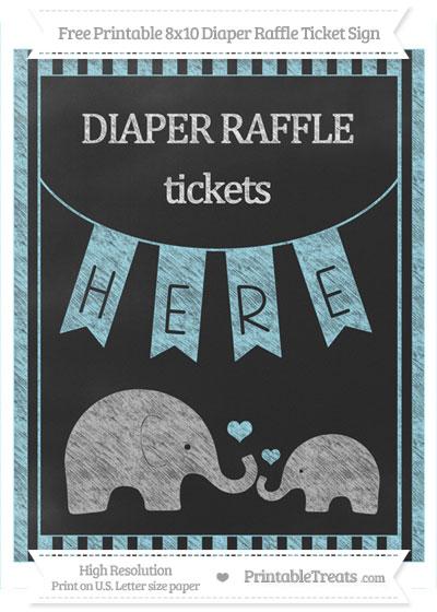 Free Pastel Aqua Blue Striped Chalk Style Elephant 8x10 Diaper Raffle Ticket Sign