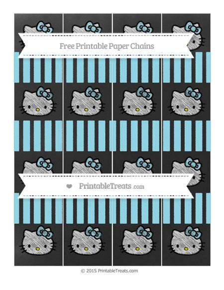 Free Pastel Aqua Blue Striped Chalk Style Hello Kitty Paper Chains