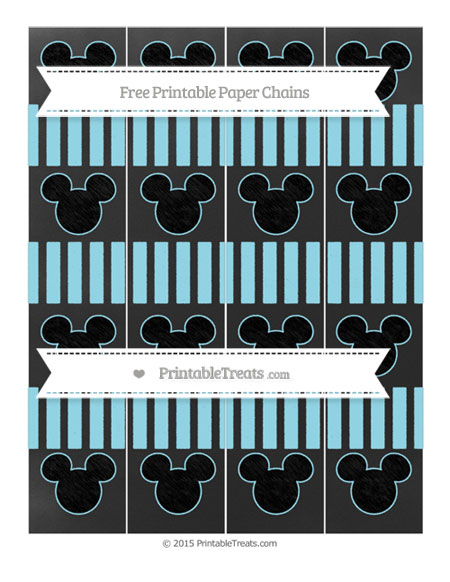 Free Pastel Aqua Blue Striped Chalk Style Mickey Mouse Paper Chains