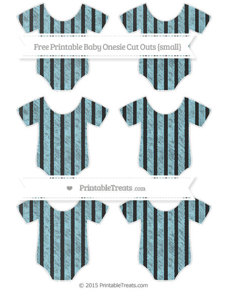Free Pastel Aqua Blue Striped Chalk Style Small Baby Onesie Cut Outs