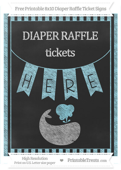 Free Pastel Aqua Blue Striped Chalk Style Whale 8x10 Diaper Raffle Ticket Sign