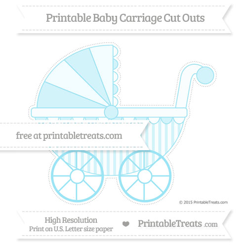 Free Pastel Aqua Blue Striped Extra Large Baby Carriage Cut Outs