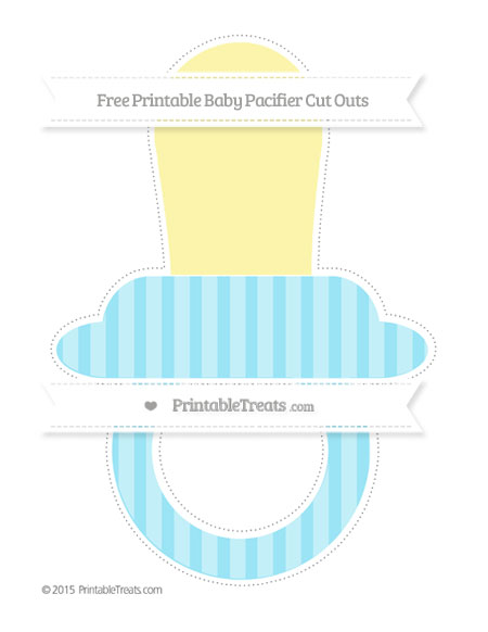 Free Pastel Aqua Blue Striped Extra Large Baby Pacifier Cut Outs