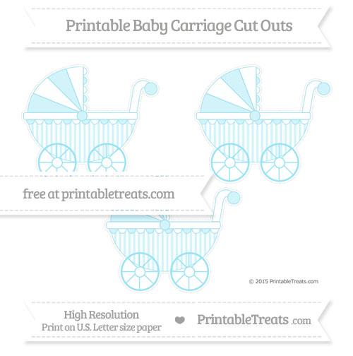 Free Pastel Aqua Blue Striped Medium Baby Carriage Cut Outs