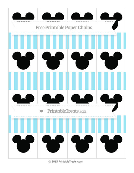 Free Pastel Aqua Blue Striped Mickey Mouse Paper Chains