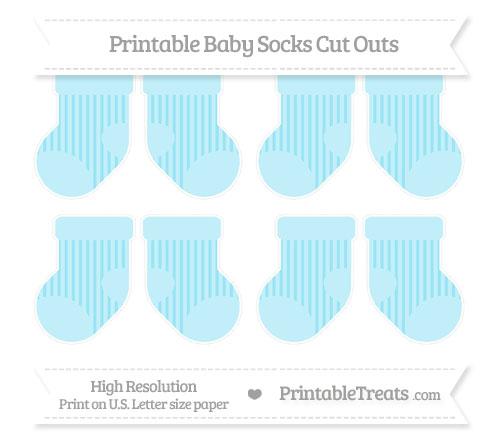 Free Pastel Aqua Blue Striped Small Baby Socks Cut Outs