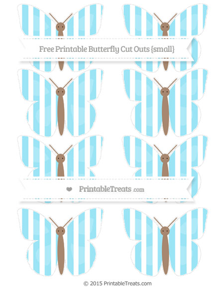 Free Pastel Aqua Blue Striped Small Butterfly Cut Outs