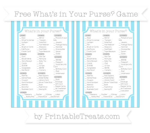 Free Pastel Aqua Blue Striped What's in Your Purse Baby Shower Game