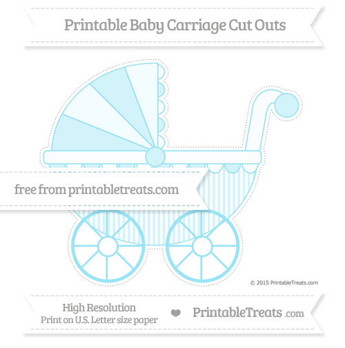 Free Pastel Aqua Blue Thin Striped Pattern Extra Large Baby Carriage Cut Outs