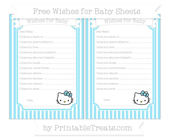 Free Pastel Aqua Blue Thin Striped Pattern Hello Kitty Wishes for Baby Sheets