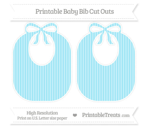 Free Pastel Aqua Blue Thin Striped Pattern Large Baby Bib Cut Outs