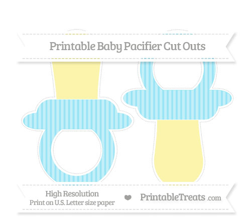 Free Pastel Aqua Blue Thin Striped Pattern Large Baby Pacifier Cut Outs
