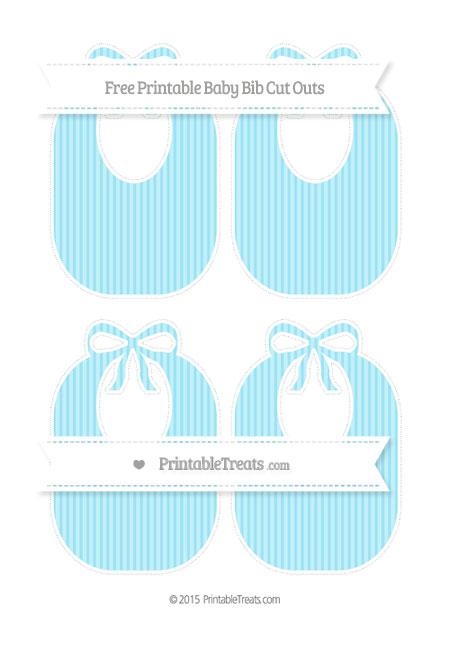 Free Pastel Aqua Blue Thin Striped Pattern Medium Baby Bib Cut Outs